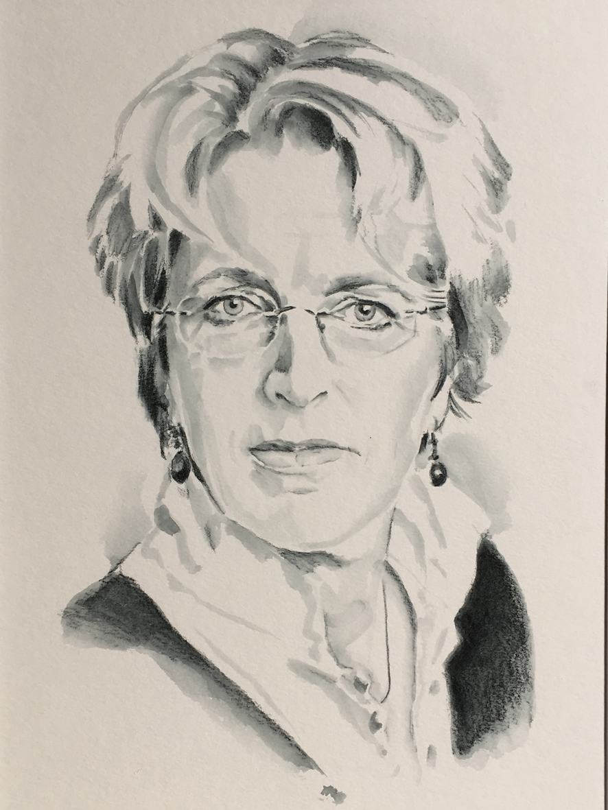 Zelfportret, aquarelpotlood op papier (A4)